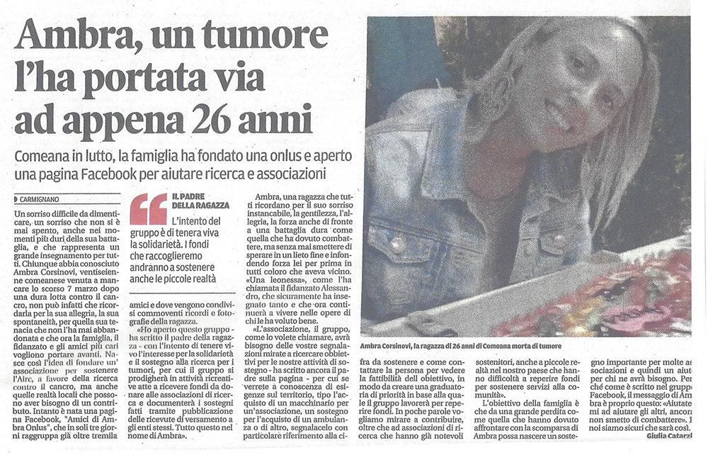 Ambra, un tumore l'ha portata via ad appena 26 anni