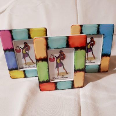 Portafoto in Ceramica mod 2  Confezionato in Scatola Trasparente con Veletta, Confetti e Pergamena Personalizzata