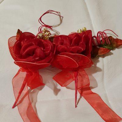 Rosa in Raso Rossa Petali Portaconfetti